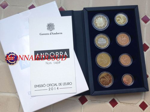 Coffret BE 1 Cent à 2 Euro Andorre 2014 - Coffret Proof Officiel