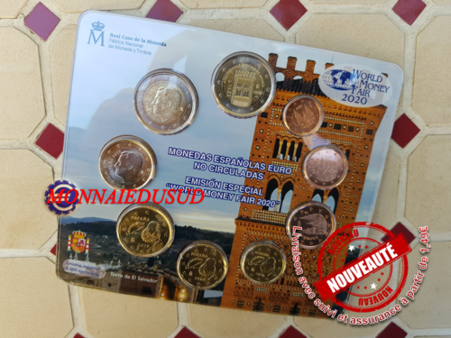 Coffret BU 1 Cent à 2 Euro + 2 Euro CC  Espagne 2020 - World Money Fair