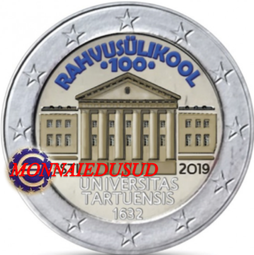 2 Euro Commémorative Estonie 2019 en Couleur Type B - Université de Tartu
