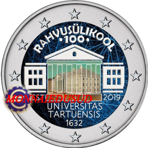 2 Euro Commémorative Estonie 2019 en Couleur Type D - Université de Tartu